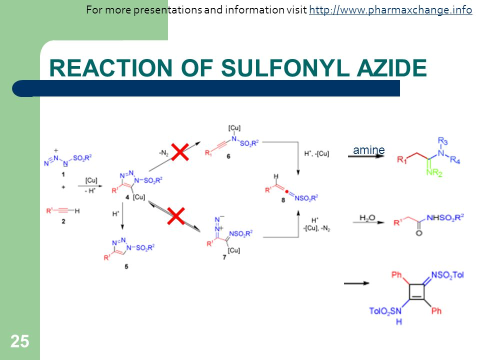 25 REACTION OF SULFONYL AZIDE amine For more presentations and information visit http://www.pharmaxchange.infohttp://www.pharmaxchange.info