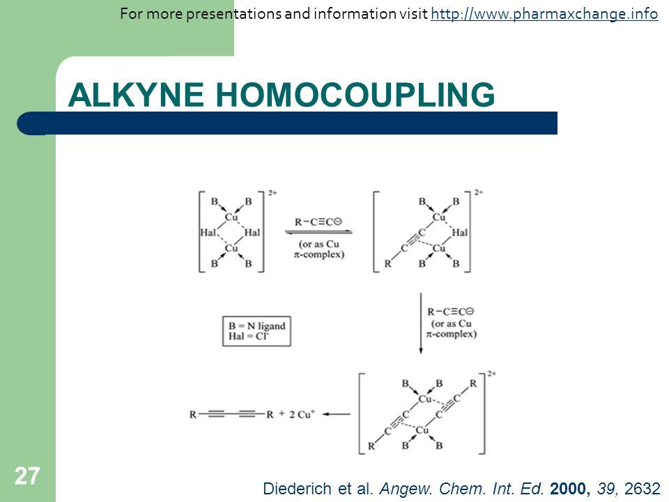 27 ALKYNE HOMOCOUPLING Diederich et al. Angew. Chem. Int. Ed. 2000, 39, 2632 For more presentations and information visit http://www.pharmaxchange.inf