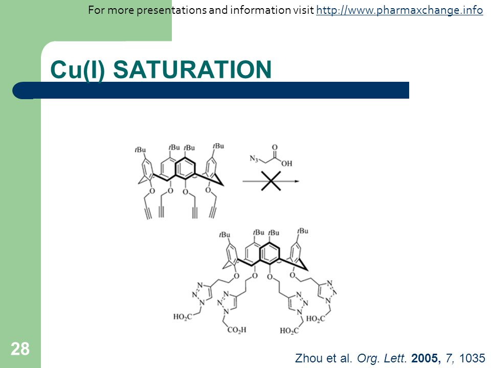 28 Cu(I) SATURATION Zhou et al. Org. Lett. 2005, 7, 1035 For more presentations and information visit http://www.pharmaxchange.infohttp://www.pharmaxc