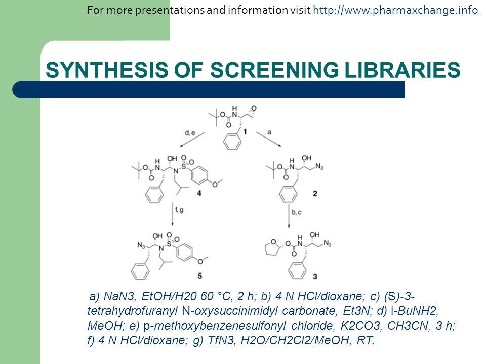SYNTHESIS OF SCREENING LIBRARIES a) NaN3, EtOH/H20 60 °C, 2 h; b) 4 N HCl/dioxane; c) (S)-3- tetrahydrofuranyl N-oxysuccinimidyl carbonate, Et3N; d) i