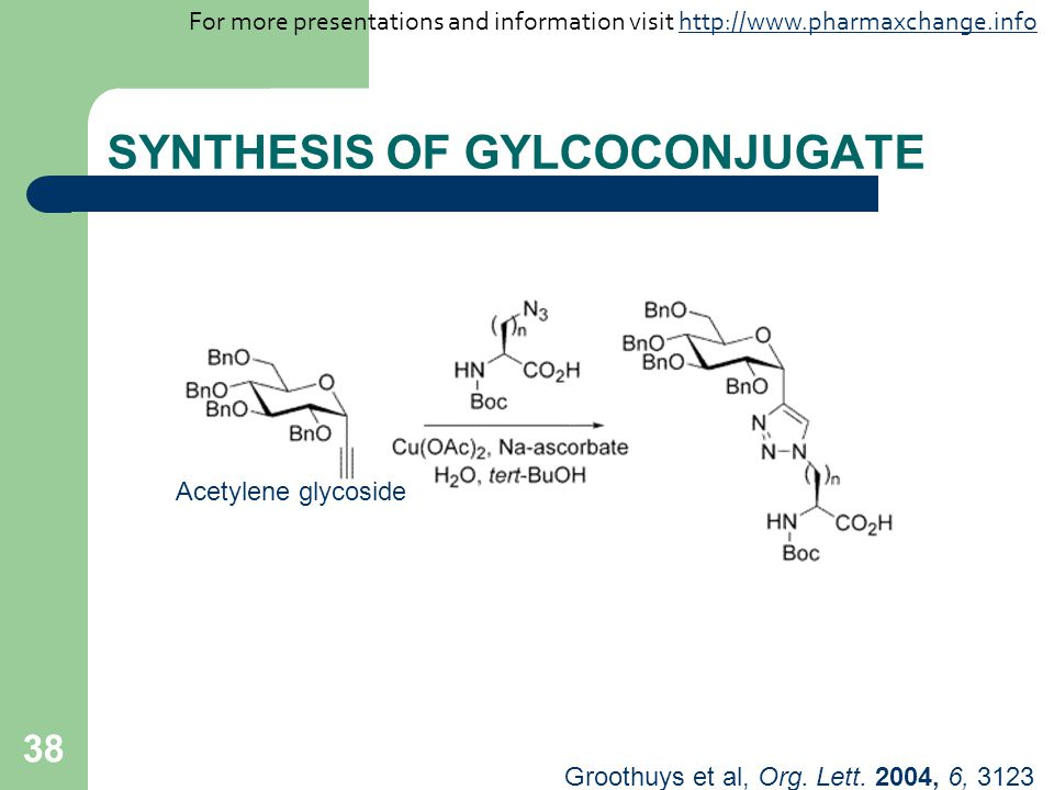 38 SYNTHESIS OF GYLCOCONJUGATE Groothuys et al, Org.