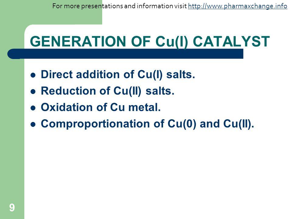 9 GENERATION OF Cu(I) CATALYST Direct addition of Cu(I) salts. Reduction of Cu(II) salts. Oxidation of Cu metal. Comproportionation of Cu(0) and Cu(II