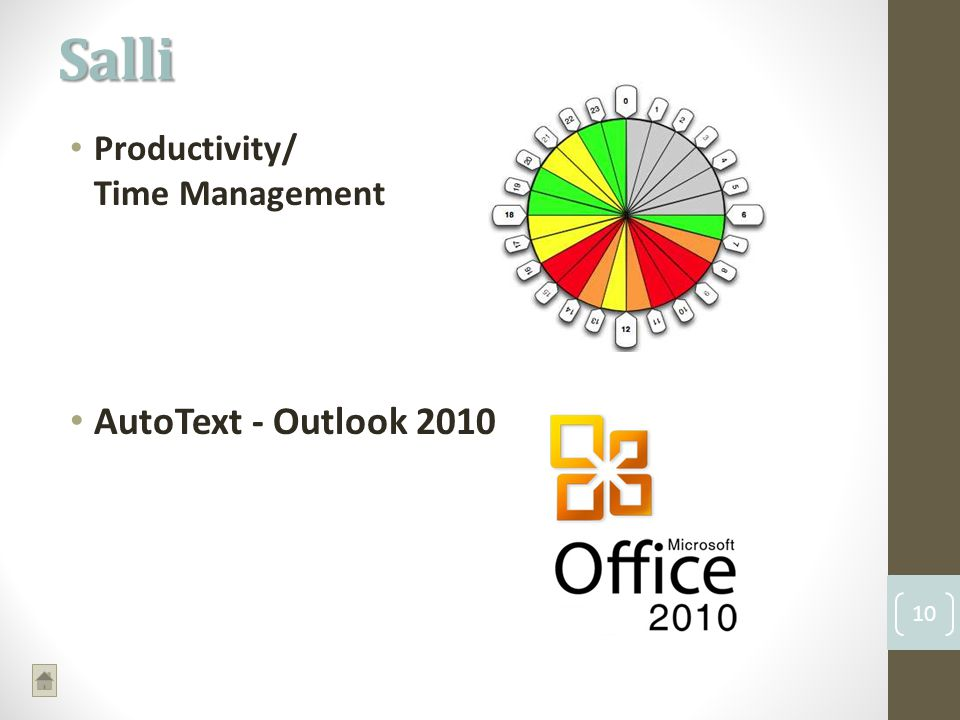 Productivity/ Time Management AutoText - Outlook 2010 Salli 10
