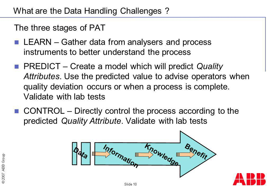 © 2007 ABB Group Slide 10 What are the Data Handling Challenges ? The three stages of PAT LEARN – Gather data from analysers and process instruments t