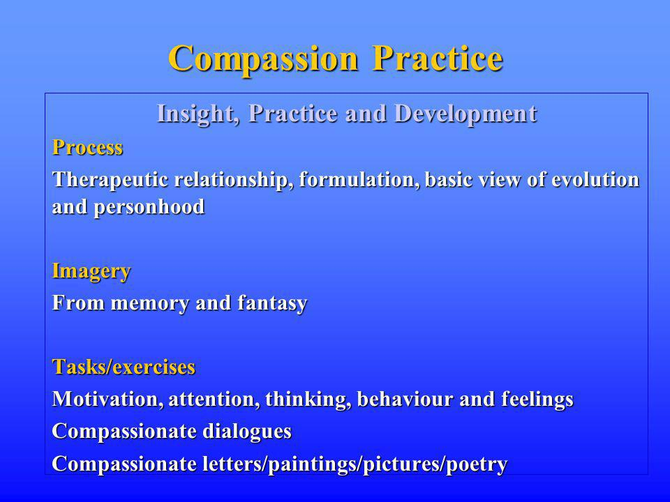 Compassion Practice Insight, Practice and Development Process Therapeutic relationship, formulation, basic view of evolution and personhood Imagery From memory and fantasy Tasks/exercises Motivation, attention, thinking, behaviour and feelings Compassionate dialogues Compassionate letters/paintings/pictures/poetry