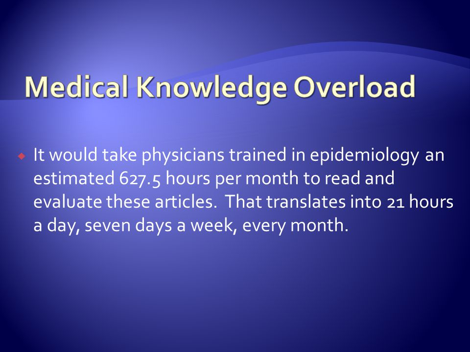 It would take physicians trained in epidemiology an estimated 627.5 hours per month to read and evaluate these articles.