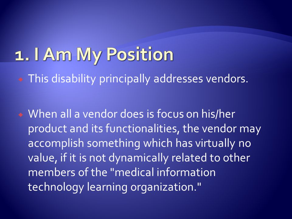 This disability principally addresses vendors.