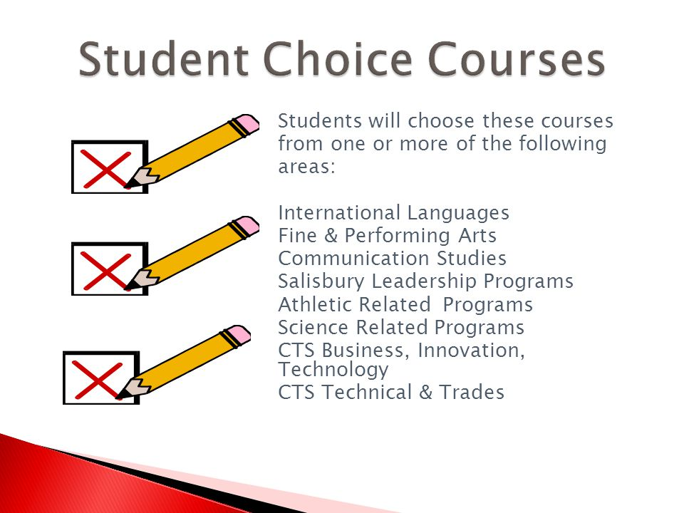 Students will choose these courses from one or more of the following areas: International Languages Fine & Performing Arts Communication Studies Salisbury Leadership Programs Athletic Related Programs Science Related Programs CTS Business, Innovation, Technology CTS Technical & Trades