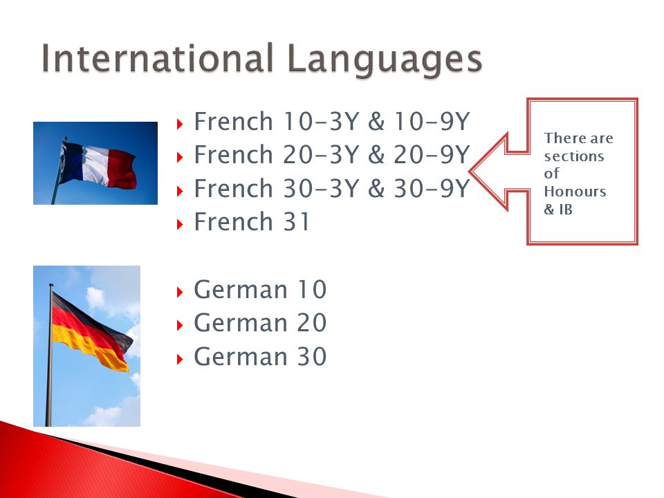 French 10-3Y & 10-9Y French 20-3Y & 20-9Y French 30-3Y & 30-9Y French 31 German 10 German 20 German 30 There are sections of Honours & IB