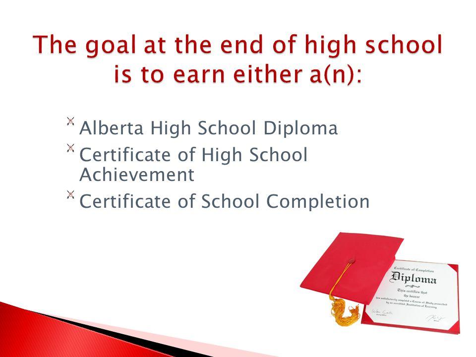Alberta High School Diploma Certificate of High School Achievement Certificate of School Completion