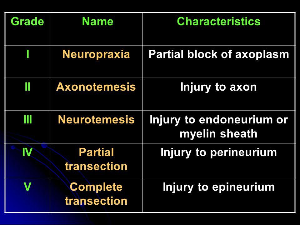 Grade NameCharacteristics INeuropraxiaPartial block of axoplasm IIAxonotemesisInjury to axon IIINeurotemesisInjury to endoneurium or myelin sheath IVPartial transection Injury to perineurium VComplete transection Injury to epineurium