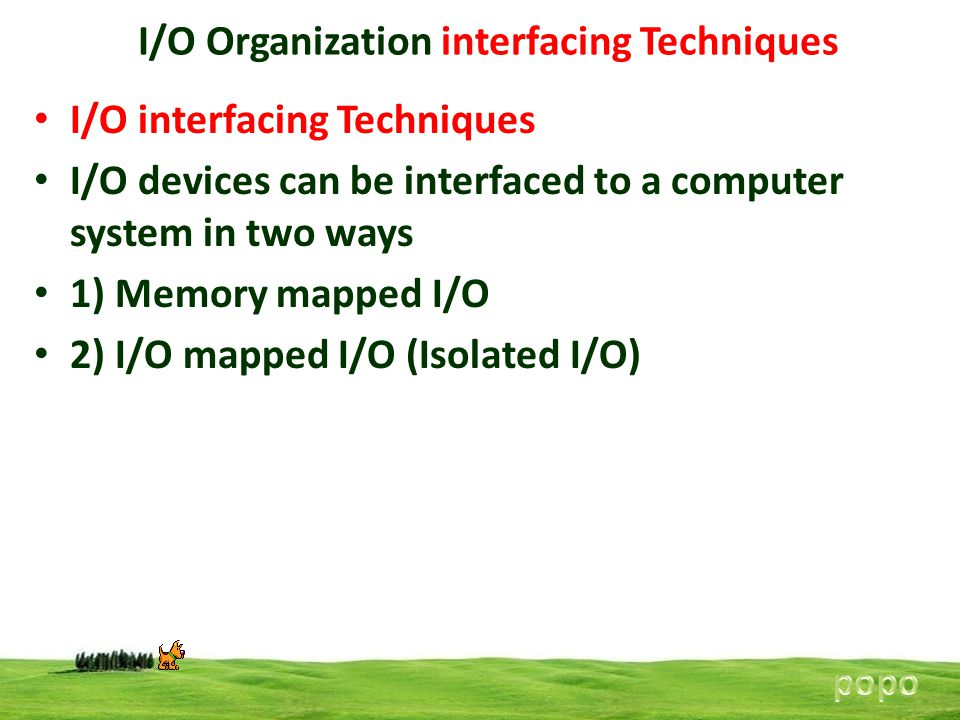 I/O Organization interfacing Techniques I/O interfacing Techniques I/O devices can be interfaced to a computer system in two ways 1) Memory mapped I/O