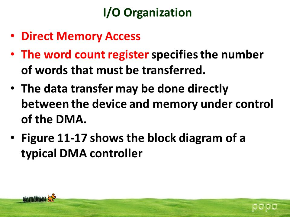I/O Organization Direct Memory Access The word count register specifies the number of words that must be transferred.