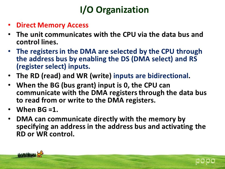 I/O Organization Direct Memory Access The unit communicates with the CPU via the data bus and control lines.