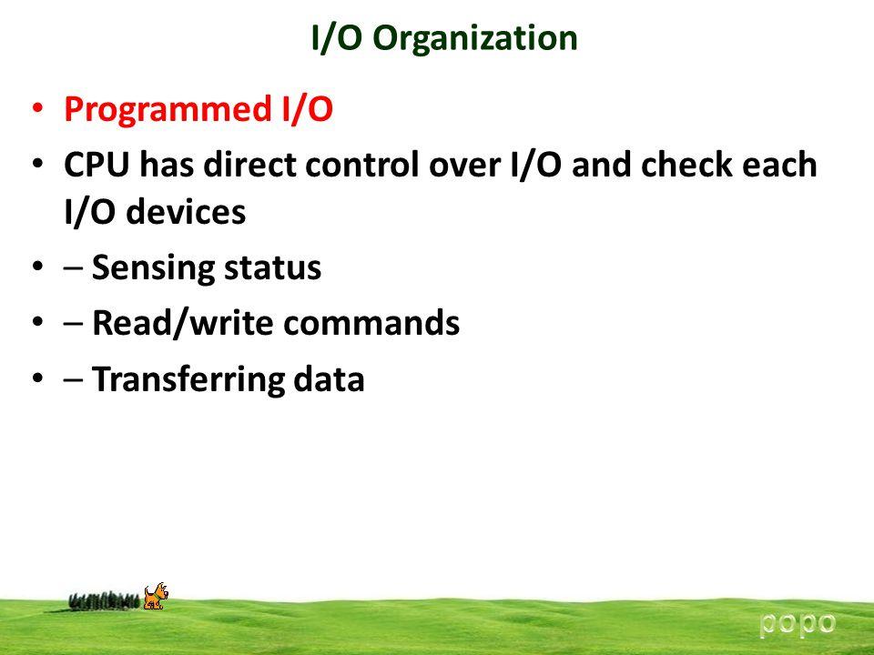 I/O Organization Programmed I/O CPU has direct control over I/O and check each I/O devices – Sensing status – Read/write commands – Transferring data