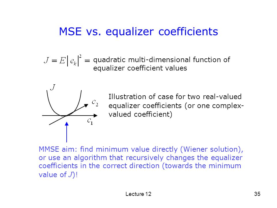 Lecture 1235 MSE vs. equalizer coefficients quadratic multi-dimensional function of equalizer coefficient values MMSE aim: find minimum value directly
