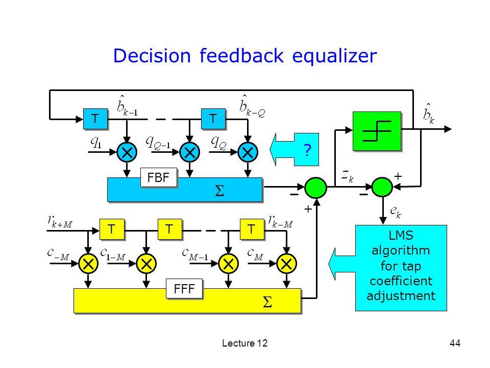Lecture 1244 Decision feedback equalizer T T T T T T LMS algorithm for tap coefficient adjustment T T T T FFF FBF + + ?