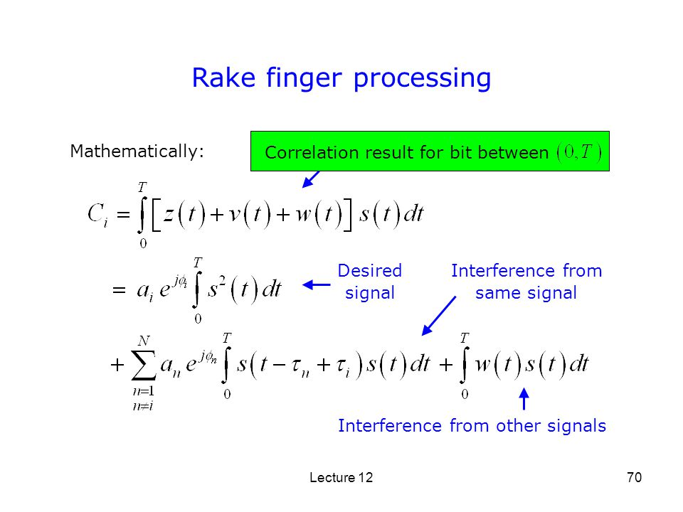 Lecture 1270 Rake finger processing Mathematically: Correlation result for bit between Interference from same signal Interference from other signals D