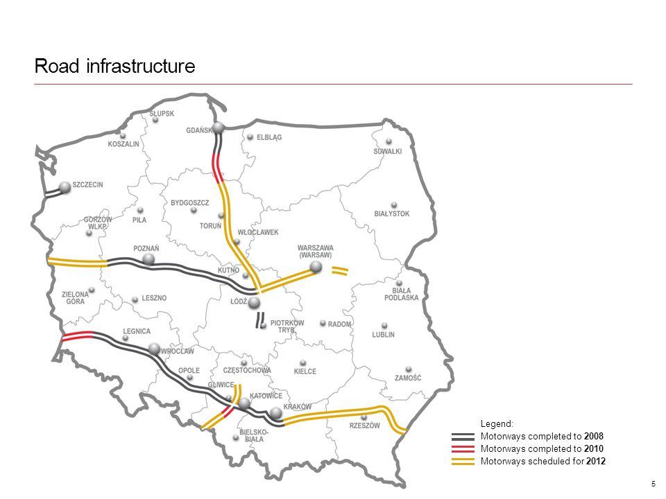 Road infrastructure 5 Legend: Motorways completed to 2008 Motorways completed to 2010 Motorways scheduled for 2012