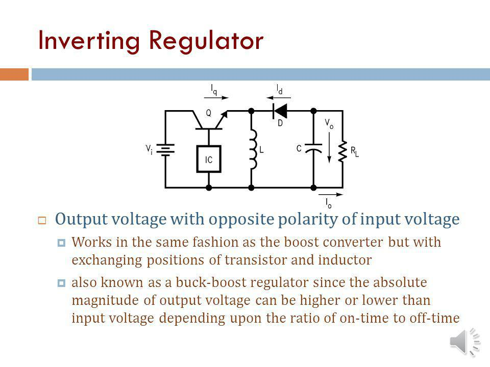 Boost Regulator Step-up regulator IC senses output voltage and switches Q on/off