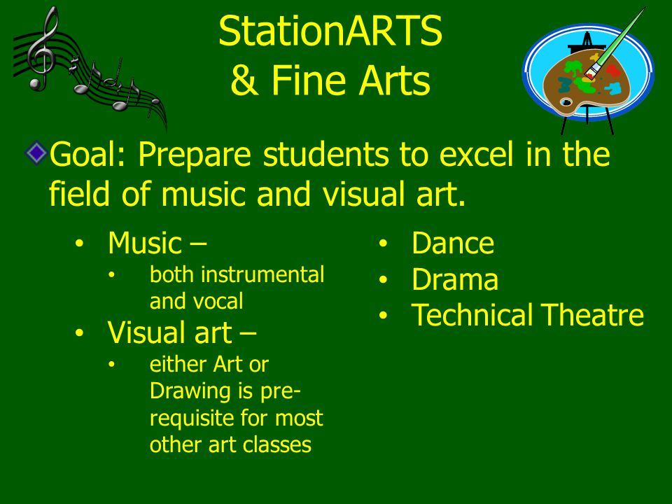 StationARTS & Fine Arts Goal: Prepare students to excel in the field of music and visual art. Music – both instrumental and vocal Visual art – either