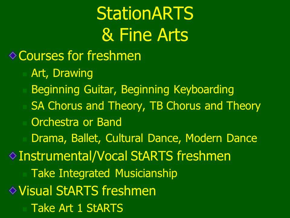 StationARTS & Fine Arts Courses for freshmen Art, Drawing Beginning Guitar, Beginning Keyboarding SA Chorus and Theory, TB Chorus and Theory Orchestra