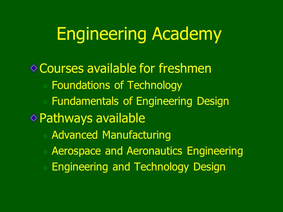Courses available for freshmen Foundations of Technology Fundamentals of Engineering Design Pathways available Advanced Manufacturing Aerospace and Ae