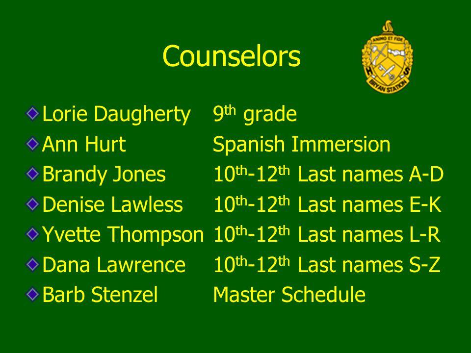 Counselors Lorie Daugherty9 th grade Ann Hurt Spanish Immersion Brandy Jones 10 th -12 th Last names A-D Denise Lawless10 th -12 th Last names E-K Yve
