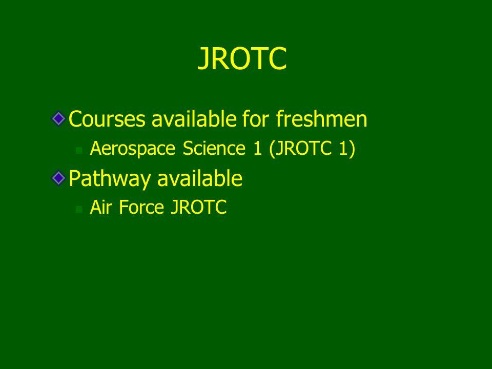Courses available for freshmen Aerospace Science 1 (JROTC 1) Pathway available Air Force JROTC JROTC