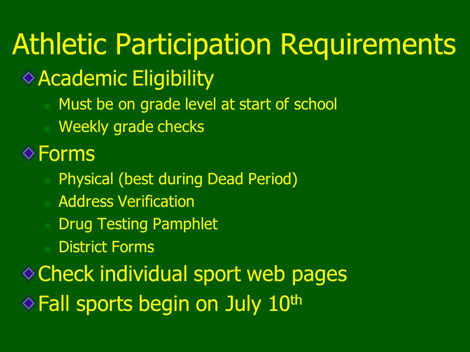 Athletic Participation Requirements Academic Eligibility Must be on grade level at start of school Weekly grade checks Forms Physical (best during Dea