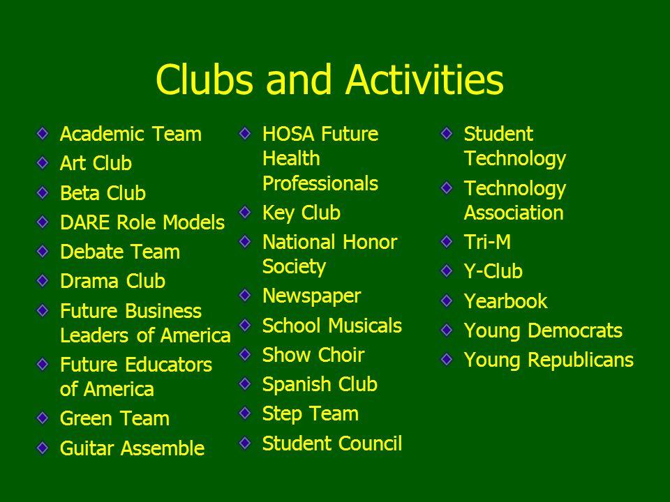 Clubs and Activities Academic Team Art Club Beta Club DARE Role Models Debate Team Drama Club Future Business Leaders of America Future Educators of A