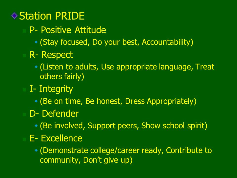 Station PRIDE P- Positive Attitude (Stay focused, Do your best, Accountability) R- Respect (Listen to adults, Use appropriate language, Treat others f