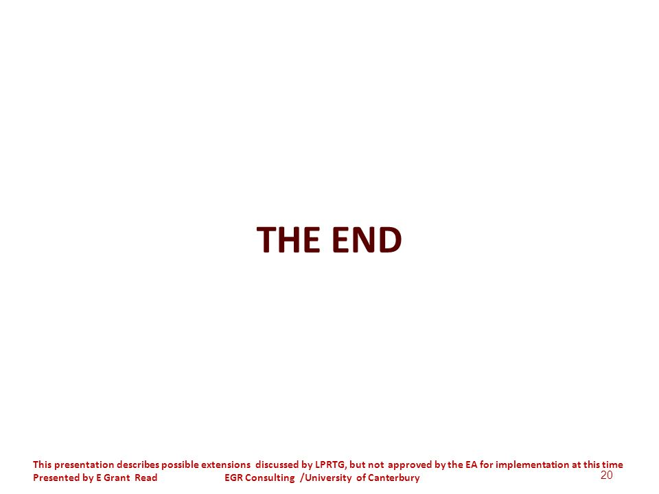 THE END 20 This presentation describes possible extensions discussed by LPRTG, but not approved by the EA for implementation at this time Presented by E Grant Read EGR Consulting /University of Canterbury
