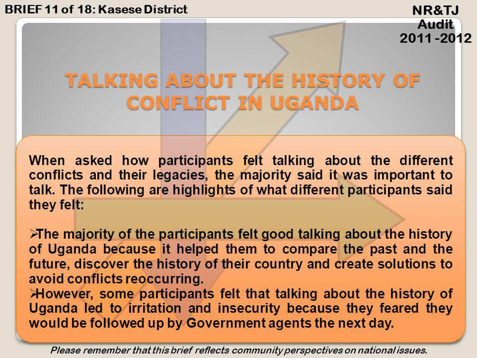 LOOKING FORWARD Future NR&TJ Audit 2011 -2012 BRIEF 11 of 18: Kasese District