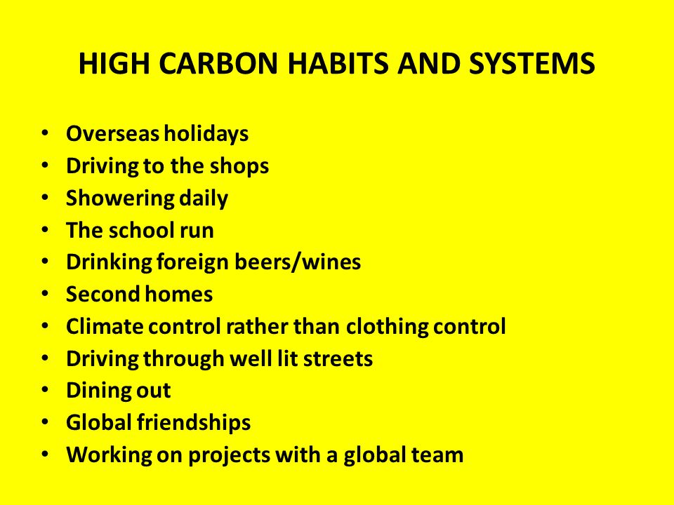 HIGH CARBON HABITS AND SYSTEMS Overseas holidays Driving to the shops Showering daily The school run Drinking foreign beers/wines Second homes Climate control rather than clothing control Driving through well lit streets Dining out Global friendships Working on projects with a global team