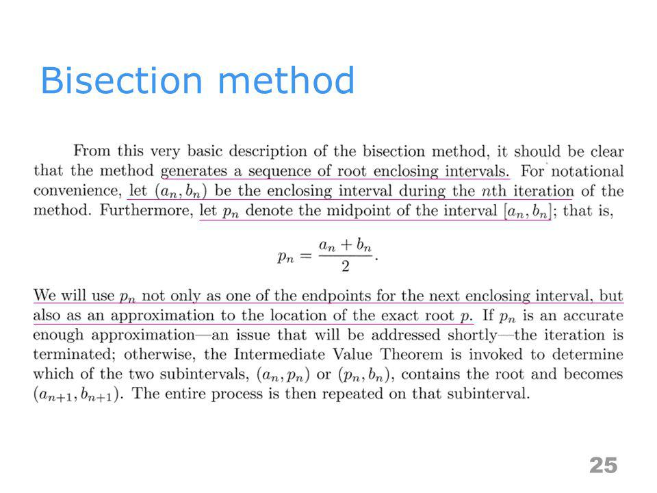 Bisection method 25