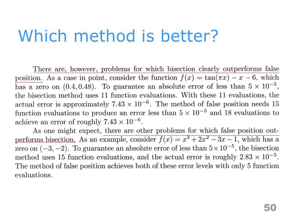 Which method is better? 50