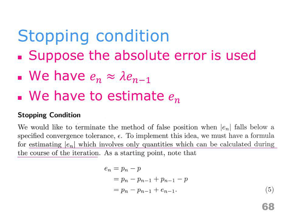 Stopping condition 68