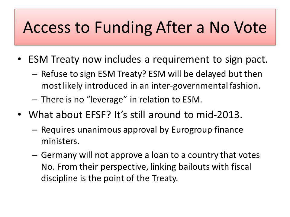 Access to Funding After a No Vote ESM Treaty now includes a requirement to sign pact. – Refuse to sign ESM Treaty? ESM will be delayed but then most l