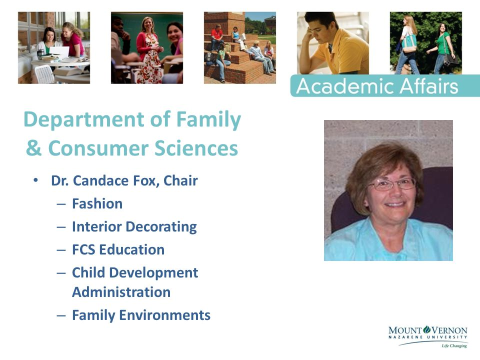Department of Family & Consumer Sciences Dr.