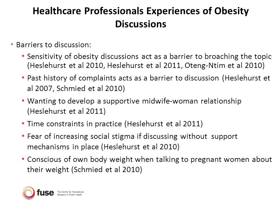 Healthcare Professionals Experiences of Obesity Discussions Barriers to discussion: Sensitivity of obesity discussions act as a barrier to broaching t