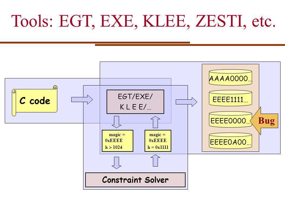 Tools: EGT, EXE, KLEE, ZESTI, etc.