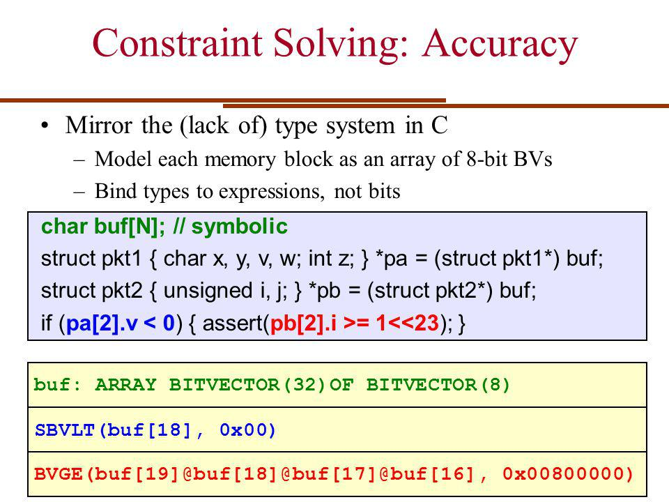 Constraint Solving: Accuracy Mirror the (lack of) type system in C –Model each memory block as an array of 8-bit BVs –Bind types to expressions, not bits char buf[N]; // symbolic struct pkt1 { char x, y, v, w; int z; } *pa = (struct pkt1*) buf; struct pkt2 { unsigned i, j; } *pb = (struct pkt2*) buf; if (pa[2].v = 1<<23); } buf: ARRAY BITVECTOR(32)OF BITVECTOR(8) SBVLT(buf[18], 0x00) BVGE(buf[19]@buf[18]@buf[17]@buf[16], 0x00800000)