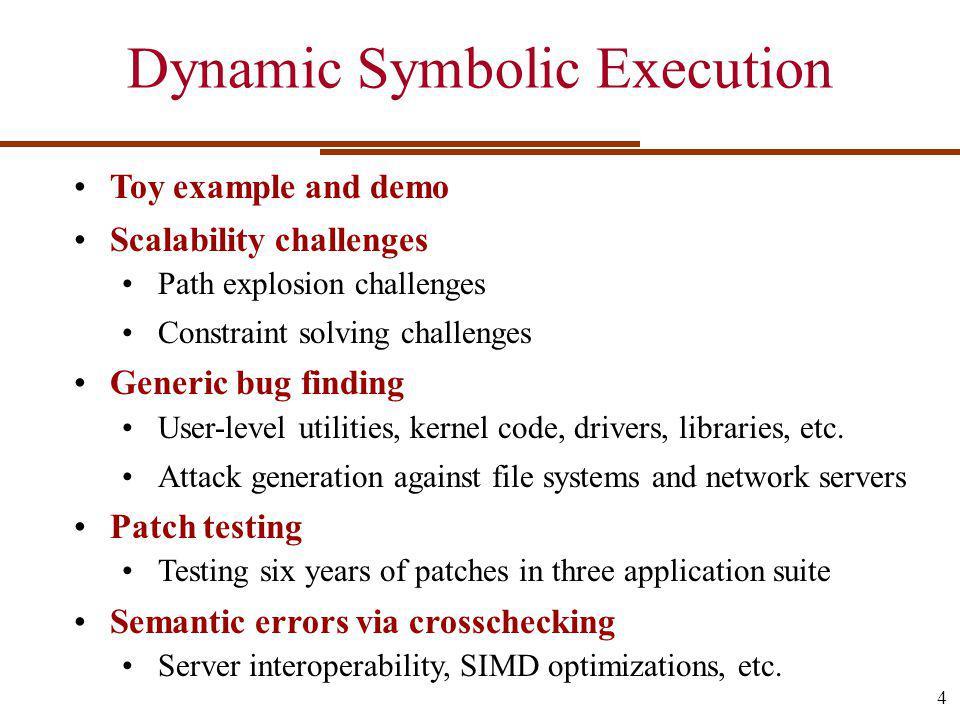 Redundant Path Elimination PCI driver (MINIX) – 1h runs Generated tests Branch coverage (%) 25