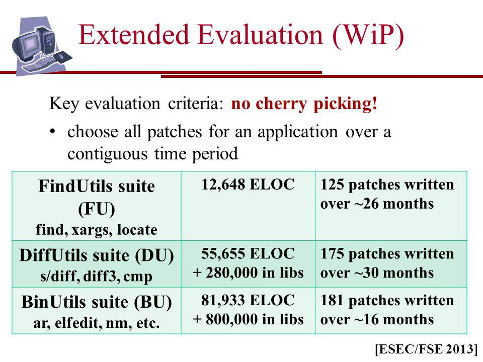 Extended Evaluation (WiP) Key evaluation criteria: no cherry picking! choose all patches for an application over a contiguous time period FindUtils su