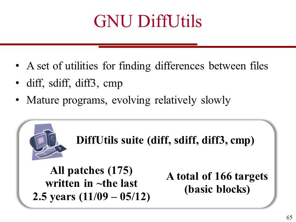 GNU DiffUtils 65 A set of utilities for finding differences between files diff, sdiff, diff3, cmp Mature programs, evolving relatively slowly DiffUtils suite (diff, sdiff, diff3, cmp) All patches (175) written in ~the last 2.5 years (11/09 – 05/12) A total of 166 targets (basic blocks)