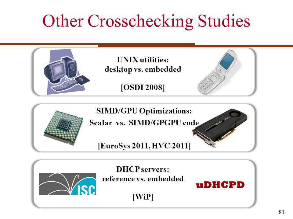 Other Crosschecking Studies 81 UNIX utilities: desktop vs.