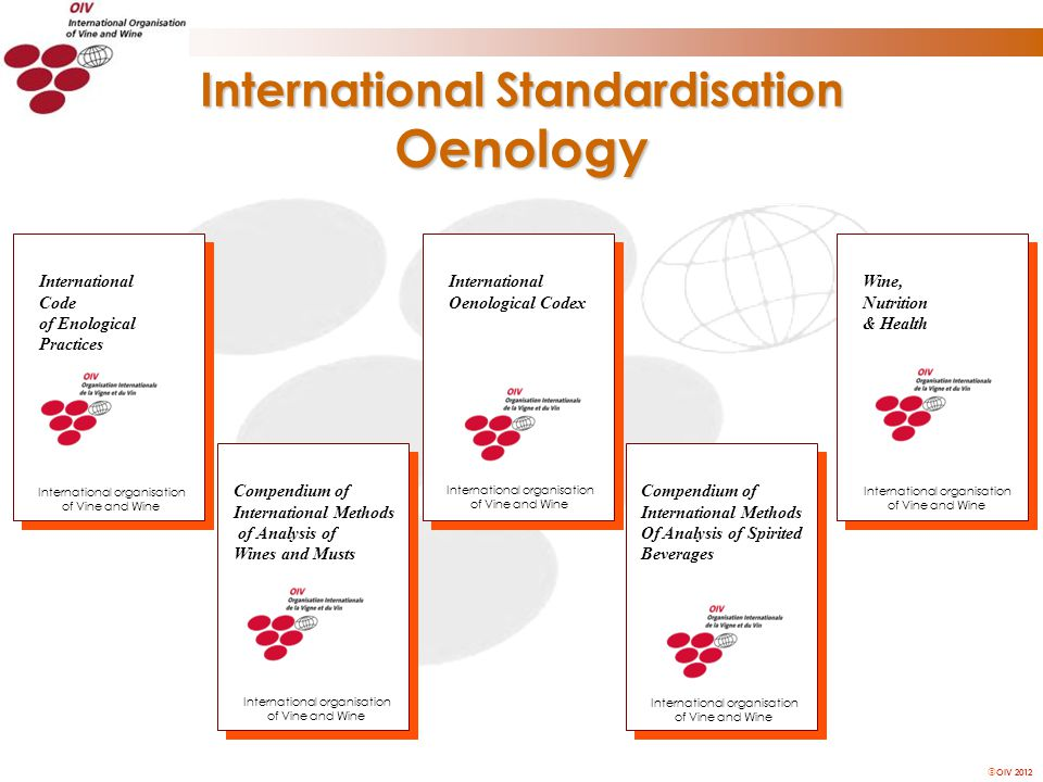 OIV 2012 International Standardisation Oenology International Oenological Codex Compendium of International Methods of Analysis of Wines and Musts International Code of Enological Practices International organisation of Vine and Wine Compendium of International Methods Of Analysis of Spirited Beverages Wine, Nutrition & Health International organisation of Vine and Wine