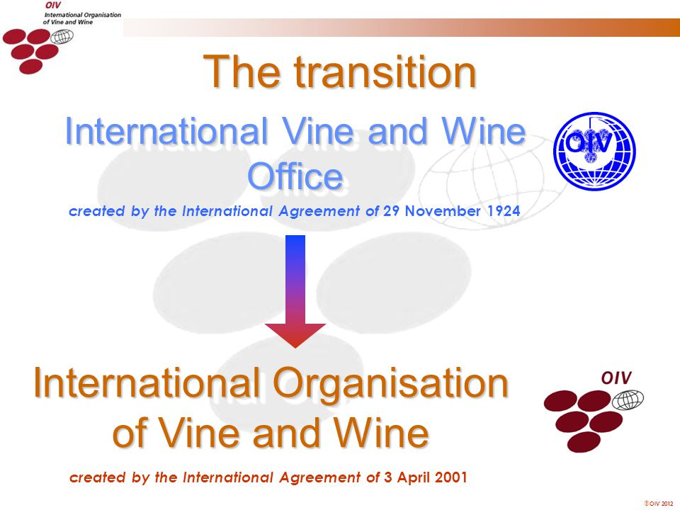 OIV 2012 The transition International Vine and Wine Office International Organisation of Vine and Wine created by the International Agreement of 29 November 1924 created by the International Agreement of 3 April 2001