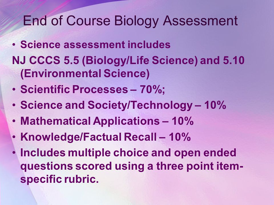 NJ ASK 4 and 8 2009-2010 Science Science assessment includes four parts – Each multiple choice item is worth one point; each open-ended item is worth